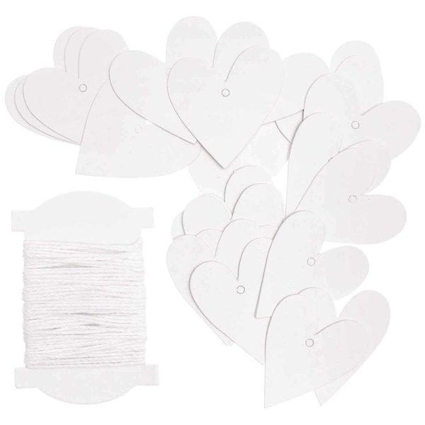 Paper Poetry Papieranhänger Herzen S weiß 24 Stück