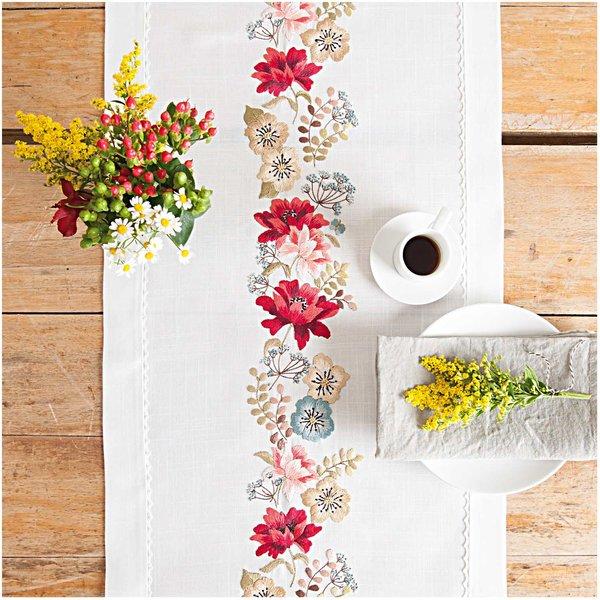 Rico Design Stickpackung Läufer Herbstblüten 40x150cm