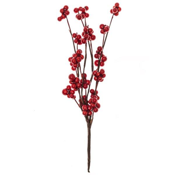 Dekopick mit kleinen Beeren rot 17cm