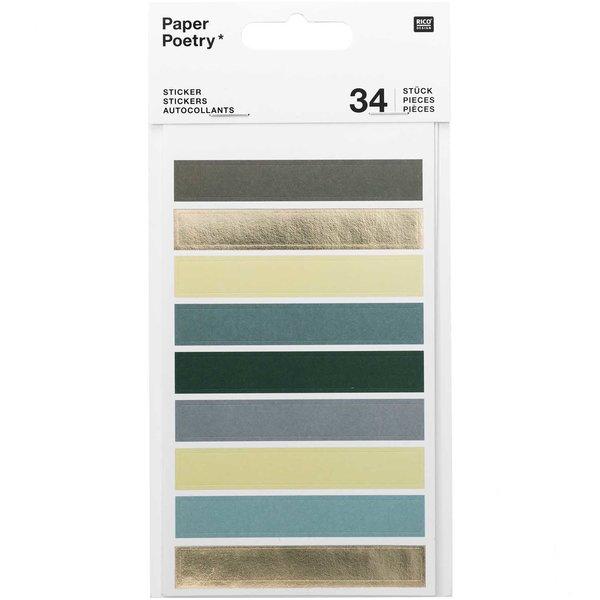 Paper Poetry Sticker Punkte & Streifen grün 4 Blatt