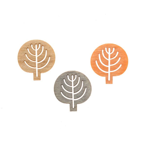 Baumstreu orange-natur-grau 2cm 24 Stück