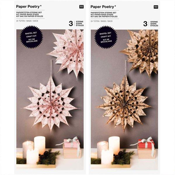 Paper Poetry Bastelset Papiertüten-Sterne Jolly Christmas groß
