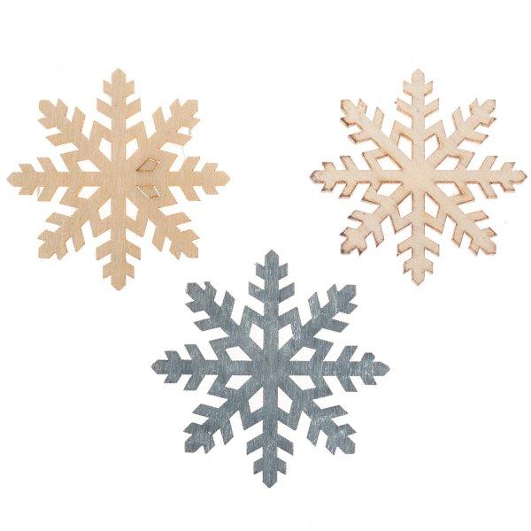 Holzstreu Schneeflocke grau-natur-weiß 4cm 12 Stück