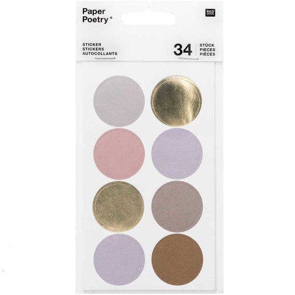 Paper Poetry Sticker Punkte & Streifen mauve 4 Blatt
