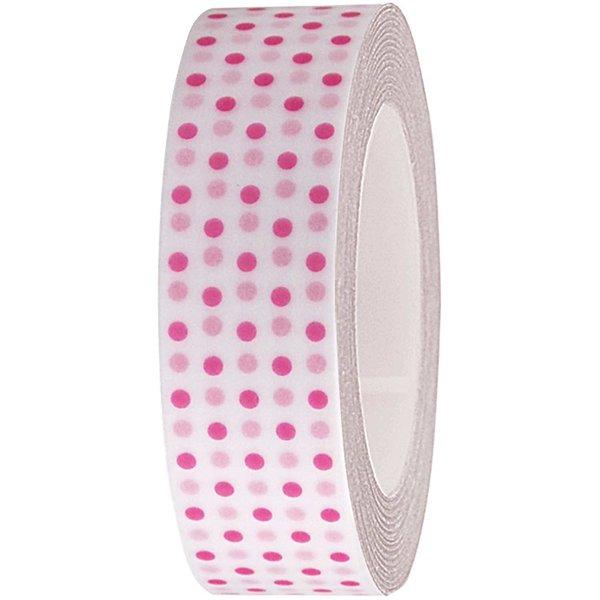 Rico Design Tape weiß-neonpinke Punkte 15mm 10m