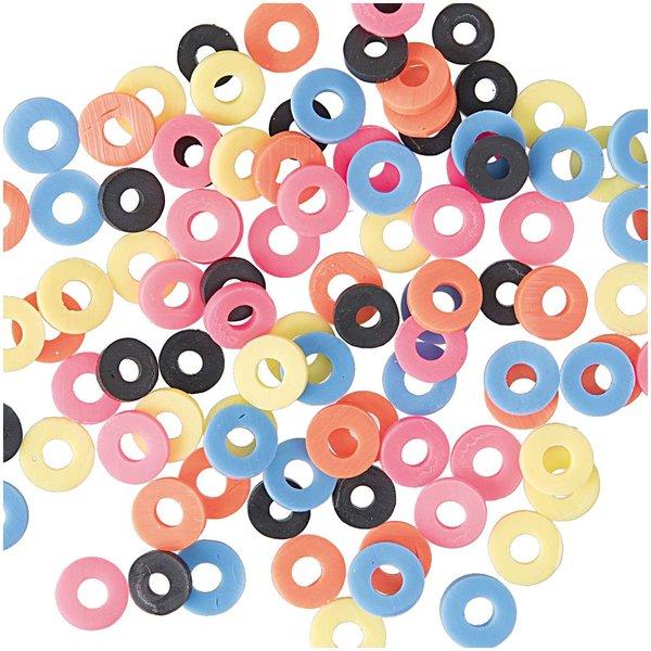 Jewellery Made by Me Gummischeiben Mix neon 6mm 100 Stück