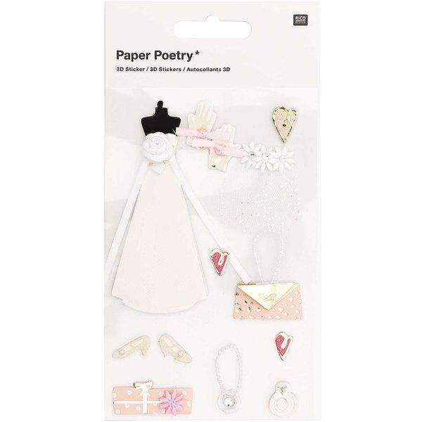 Paper Poetry 3D-Sticker Braut