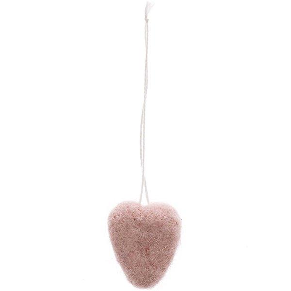 Hänger Herz aus Filz pink 3,5x3,5cm