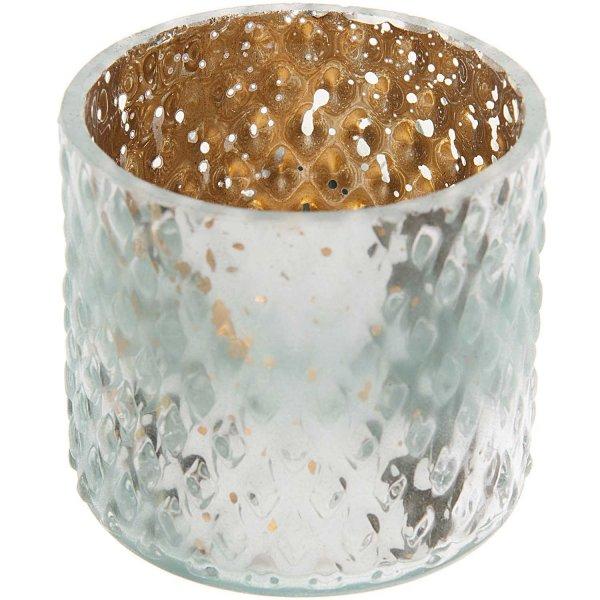 Teelichthalter Glas verspiegelt grün-bronze Ø7,2cm