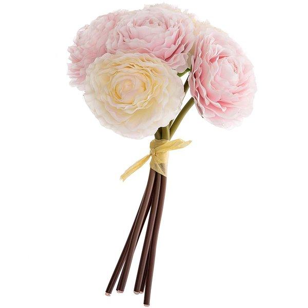 Ranunkelbund mit 6 Blüten rosa-weiß 22cm