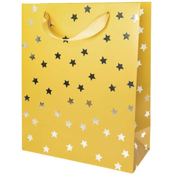 Paper Poetry Geschenktüte Nostalgic Christmas Sterne senf 26x32x12cm