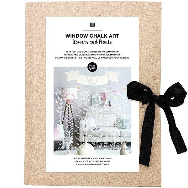 Rico Design Vorlagenmappe Fenster- und Glasmalerei mit Kreidestiften Flowers and Plants