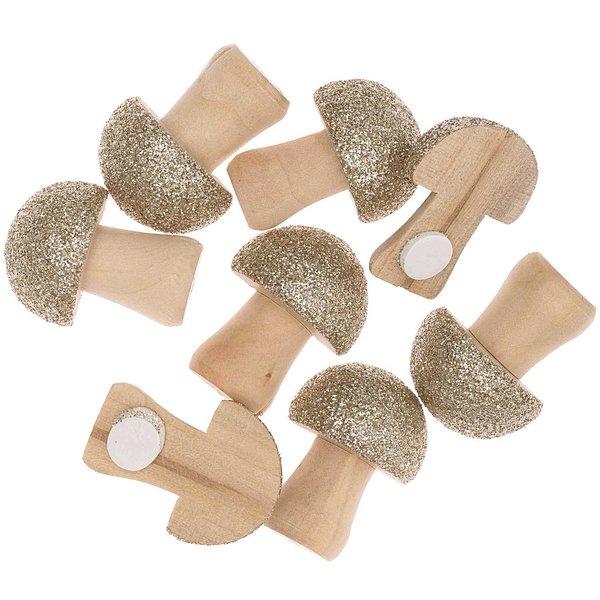 Ohhh! Lovely! Holzsticker Pilz mit Glitter natur-gold 8 Stück