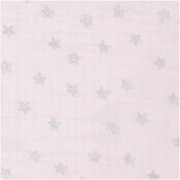 Rico Design Musselin-Druckstoff Nostalgic Christmas Sterne rosa-metallic 50x140cm