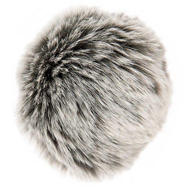 Rico Design Kunstfellbommel Premium grau-silber 10cm