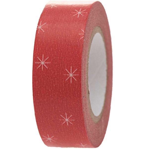 Paper Poetry Tape Schneeflocken rot 1,5cm 10m