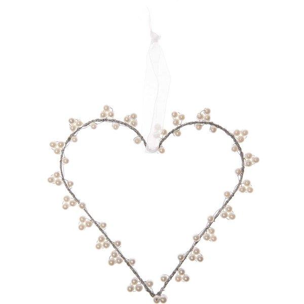 Herzanhänger mit Perlen weiß Kunststoff 15,5cm