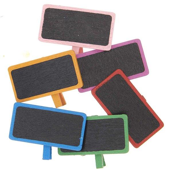 Rico Design Minitafeln mit Klammer mehrfarbig 4cm 6 Stück