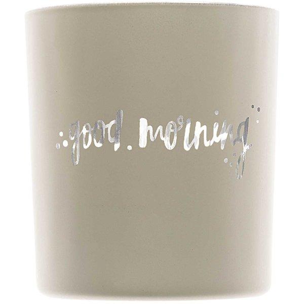 Teelichtglas Good Morning grau 8x7cm