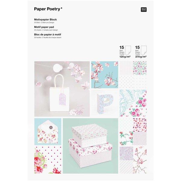 Paper Poetry Motivpapier Block Floral 21x30cm 30 Blatt