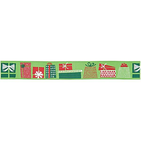 Rico Design Webband Weihnachtsgeschenke grün 2,8cm