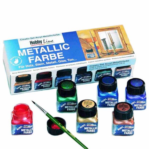 KREUL Hobby Line Creativ Set Acryl Metallicfarbe 6x20ml