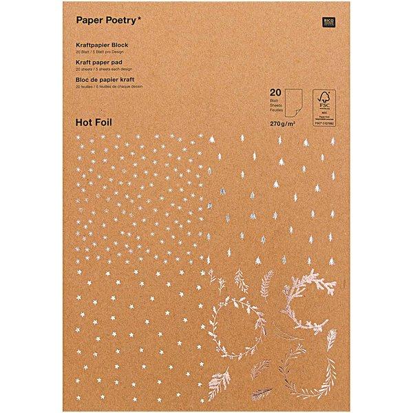 Paper Poetry Kraftpapier Block X-Mas 270g/m² 20 Blatt Hot Foil