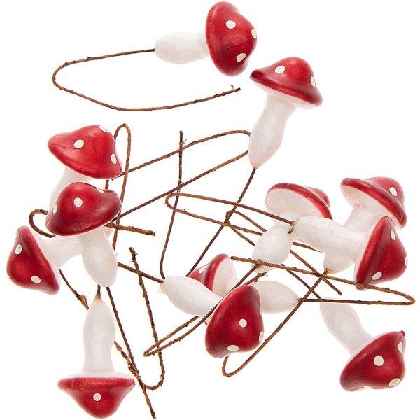 Pilz mit Draht rot-weiß 3cm 12 Stück