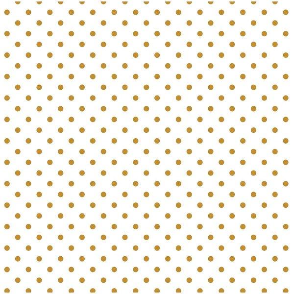 Rico Design Stoff Punkte klein weiß-gold 140cm beschichtet