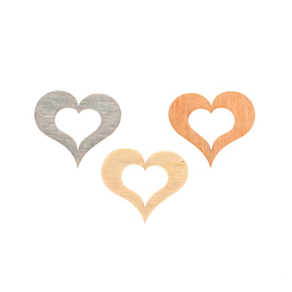 Herzstreu orange-natur-grau 2cm 24 Stück