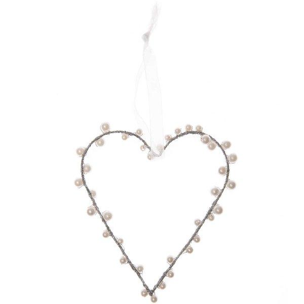 Herzanhänger mit Perlen weiß Kunststoff 12,5cm