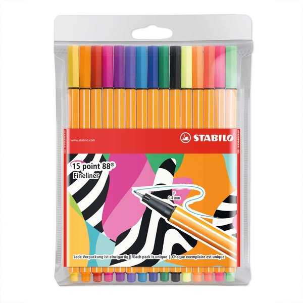 Stabilo Point 88 Fineliner im Etui 15 Farben Individual Just Like You Edition