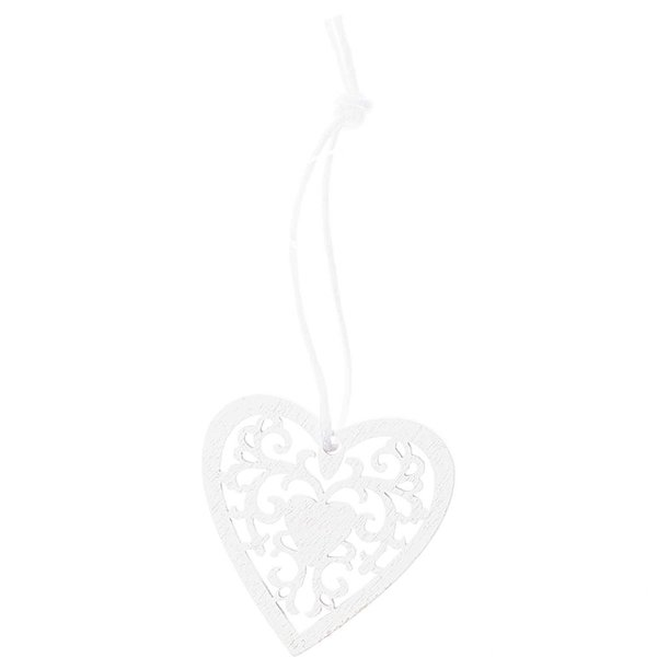Ohhh! Lovely! Holzhänger Herz Ornament S weiß