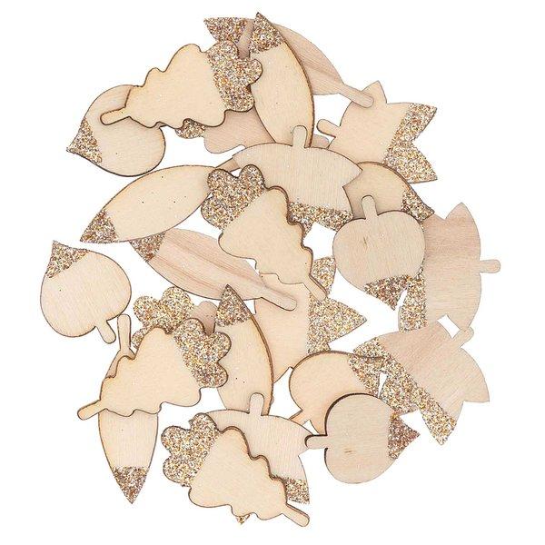 Ohhh! Lovely Holzstreu Blätter Mix mit Glitter natur-roségold 48 Stück