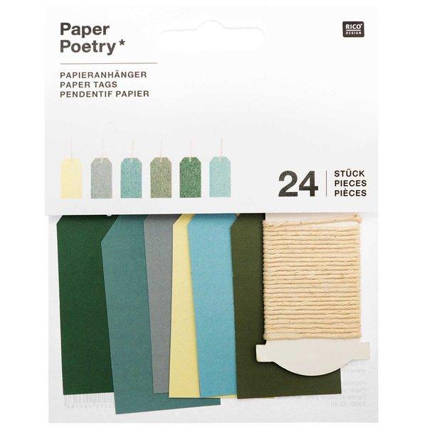Paper Poetry Papieranhänger klein grün 3x6cm 24 Stück