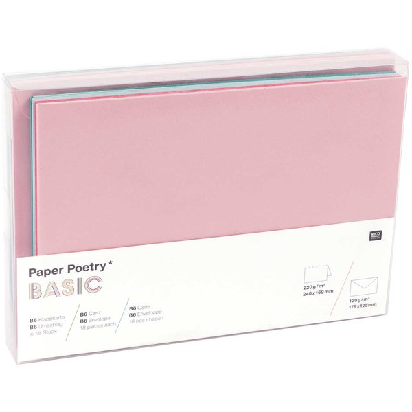 Paper Poetry Kartenset Basic tropical B6 36teilig