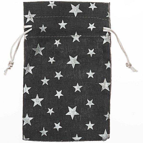 Beutel mit Sternen grau-silber 17x11cm