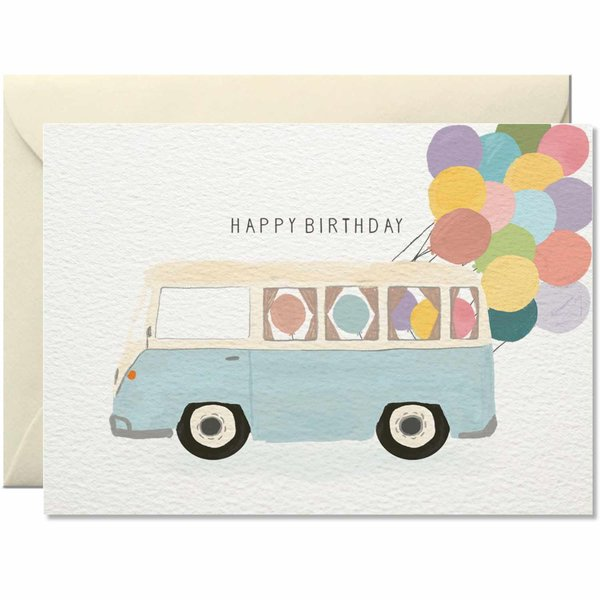 Nelly Castro Grußkarte Birthday Bus 10,5x14,8cm