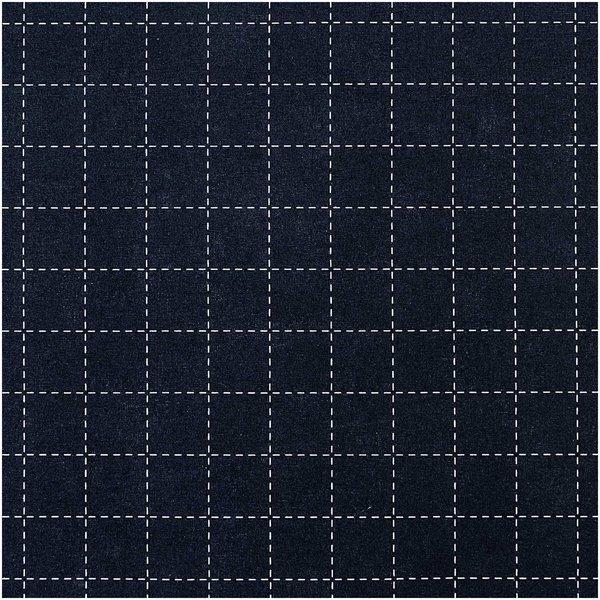 Rico Design Druckstoff Jardin Japonais kariert dunkelblau-creme 50x140cm