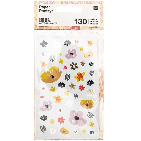 Paper Poetry Sticker Crafted Nature Blumen rosa 130 Stück