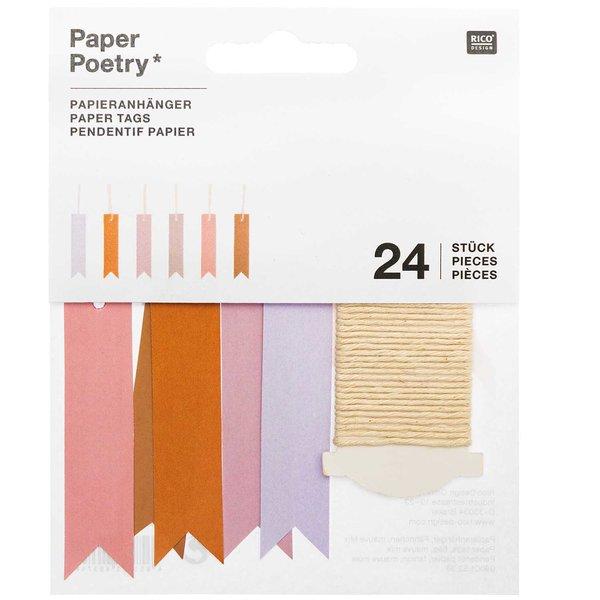 Paper Poetry Papieranhänger Fähnchen mauve 1,5x6,5cm 24 Stück