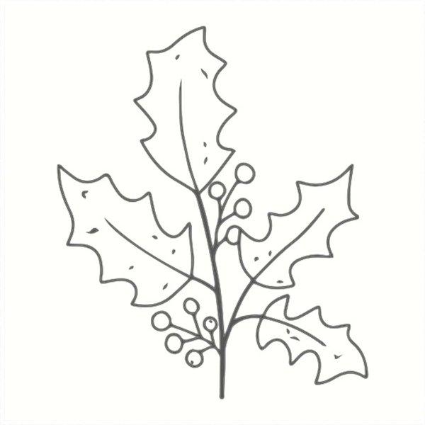 May&Berry Stempel Ilexzweig weiß 45x45mm
