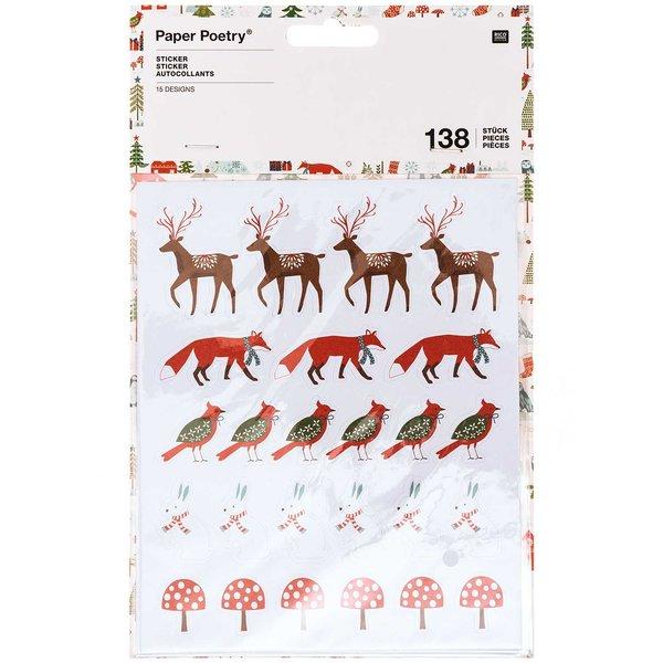 Paper Poetry Sticker Wintertiere rot 138 Stück