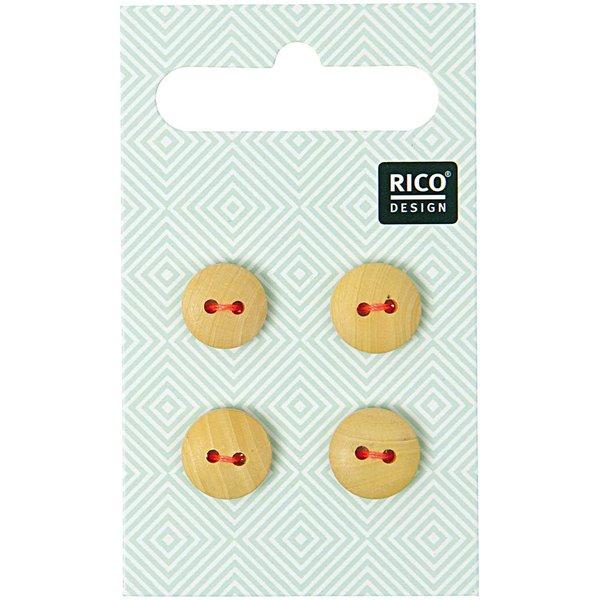 Rico Design Holzknopf 1,1cm 4 Stück 2 Löcher