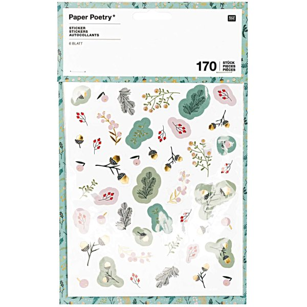 Paper Poetry Sticker Classical Christmas 6 Bogen
