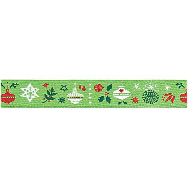 Rico Design Webband Weihnachtsgeschenke grün 1,6cm