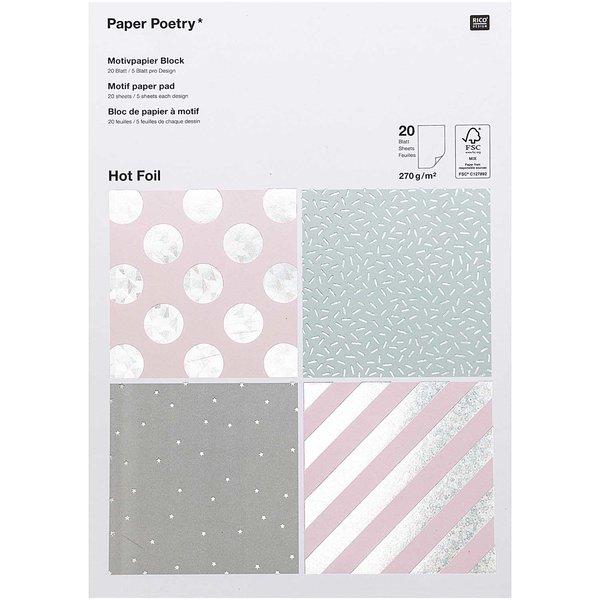 Paper Poetry Motivpapier Block hologramm 270g/m² 20 Blatt Hot Foil