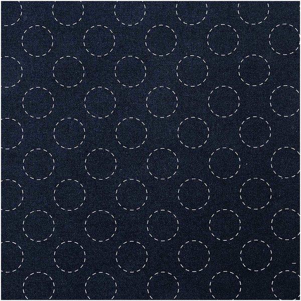 Rico Design Druckstoff Jardin Japonais Kreise dunkelblau-creme 140cm