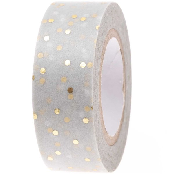 Paper Poetry Tape Punkte grau-gold 1,5cm 10m