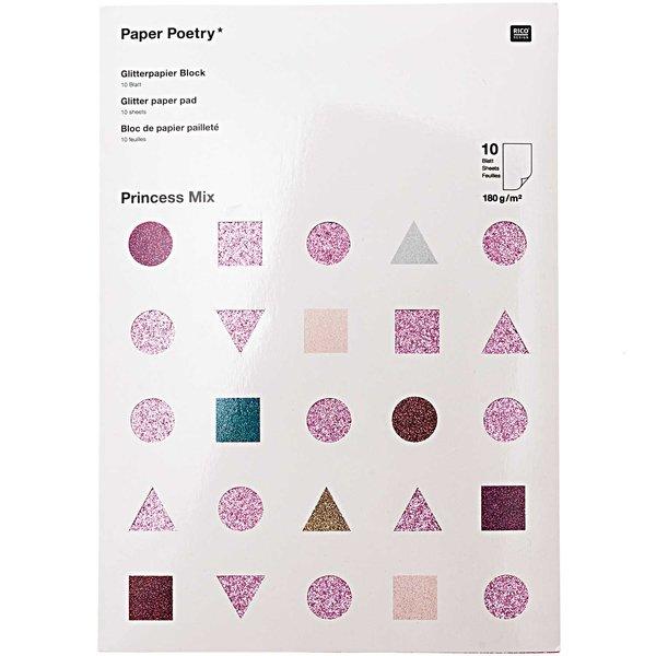 Paper Poetry Glitterpapierblock Princess Mix DIN A4 10 Blatt